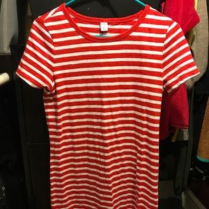 OLD NAVY red and white striped T-shirt dress SMALL